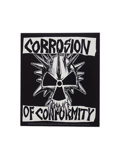 """Corrosion of Conformity - Skull Sticker.  Size: H 12cm (4.5"""") x Wide at top 10cm (3.75"""")  Free Shipping to anywhere in Australia."""