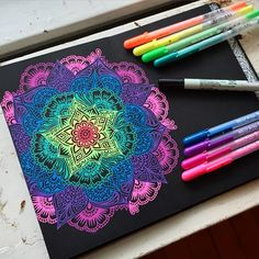 Amazing Art discovered by Pink_Slippers on We Heart It Mandala Design, Mandala Art, Pink Slippers, Blue Tiles, Mandala Coloring, Henna Designs, Amazing Art, Awesome, Zentangle