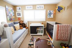 I love the idea of having a trundle bed in his room for guests to sleep on. If only the room were big enough to have the trundle and his toddler bed.
