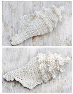 crocheted shell includes link to free pattern! ༺✿ƬⱤღ  http://www.pinterest.com/teretegui/✿༻