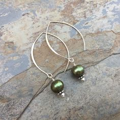 Green Pearl Earrings, Long Marquise Sterling Silver Wires, Long earrings, 2 inches long.