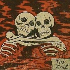 Retro Vintage The End Skeletons in Love. La Danse Macabre, Comics Vintage, Retro Vintage, Vintage Pop Art, Arte Obscura, Arte Horror, Red Aesthetic, Dark Art, Oeuvre D'art
