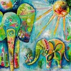 Here's a little throwback to my first elephant painting. It's only and hangs in my art studio, a sweet reminder on how far my art has come. A mama elephant and her baby. Elephant Wall Decor, Elephant Art, Baby Elephant, Baby Hippo, African Elephant, Art Fantaisiste, My Art Studio, Psychedelic Art, Art Journal Inspiration