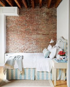 Urban loft meets French countryside in this striking bedroom. #refinery29 http://www.refinery29.com/cozy-winter-room-decor-instagram-pictures#slide-3