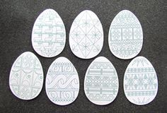 Pysanky:  Intermediate patterns to copy in a pdf download; great with Patricia Polacco's Chicken Sunday book