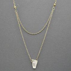 Raw Rock Crystal Boho Necklace, Layered Crystal Point Necklace, Raw Rock Quartz, ClearQuartz Boho Necklace