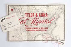 "I love the idea of a world map, tri-fold. Instead of get married ""Are Tying The Knot"" & have the twine knot I love. ♡"