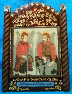 Sts. Crispin & Crispinian -  Patrons of cobblers - Feast Day October 25 by artzkalore on Etsy