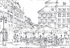 Sketch Painting, Drawing Sketches, Sketching, Perspective Art, Architectural Drawings, Sketchbooks, Art And Architecture, Paintings, Watercolor