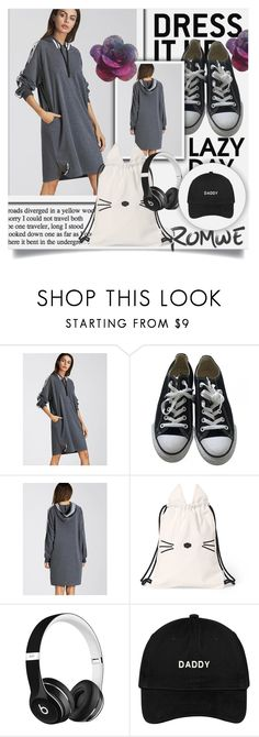 """""""ROMWE"""" by mini-kitty ❤ liked on Polyvore featuring Converse and Beats by Dr. Dre"""