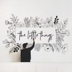 Home Remodel Joanna Gaines Hand Lettering Book.Home Remodel Joanna Gaines Hand Lettering Book Mural Floral, Flower Mural, Floral Wall, Wall Painting Decor, Mural Wall Art, Wall Decor, Wall Painting Flowers, Painting Walls, Doodle Wall