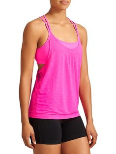 Mesh Energize Tank - The barely-there yoga tank with a relaxed, semi-sheer layer over a low-support bra with a double-cross strappy back.
