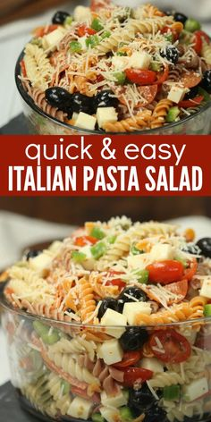 Italian pasta salad recipe is loaded with olives, tomatoes, cheese and more! Easy Italian pasta salad has the best flavor and will be a hit. Pasta salad with Italian dressing is the perfect side dish.Bring this Easy pasta salad recipe to parties, BBQ's an Easy Pasta Salad Recipe, Easy Salad Recipes, Dinner Recipes, Healthy Recipes, Quick Recipes, Simple Pasta Salad, Pasta Salad Recipes Cold, Summer Pasta Salad, Best Pasta Salad