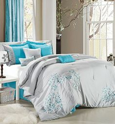 Perfect Home Sydney 12piece Embroidered Comforter Set Queen Size Black and White Bedskirt Shams and Decorative Pillows Included King Turquoise *** Want to know more, click on the image.