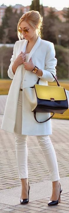 Gorgeous White Coat and Shirt, Blue & Yellow Handbag and High Heels Pumps