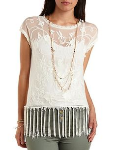 Crocheted Mesh Tee with Tassels: Charlotte Russe