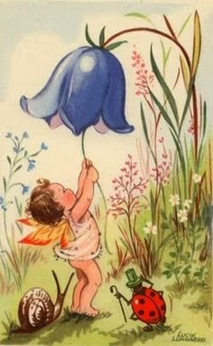 Fairy and Snail Story Book Illustration by naturepoet on Etsy Fairy Pictures, Vintage Fairies, Baby Fairy, Flower Fairies, Fairy Art, Cute Illustration, Faeries, Illustrators, Fantasy Art