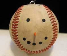 Baseball snowman - ornament