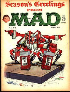 Mad magazine, January 1962 / cover illustration by Don Martin. Alfred E Neuman, Mad Magazine, Magazine Covers, Life Magazine, American Humor, Christmas Comics, Christmas Stuff, Xmas, Jack Davis