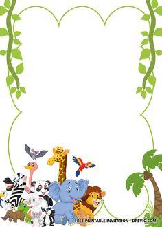 Safari Invitations, 1st Birthday Party Invitations, Free Printable Invitations, Baby Shower Invitation Templates, Disney Invitations, Tinkerbell Invitations, Birthday Invitation Background, Printables, Diy Zoo Party