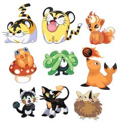 Pokémon tigrette electiger baby Vulpix baby paras baby tagela rinring  bellboyant
