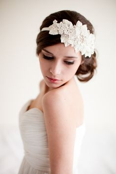 Lace Rhinestone Headband with Leaves, Bridal Headpiece, Headband, Fascinator, Rhinestones, Pearls - Olivia MADE TO ORDER