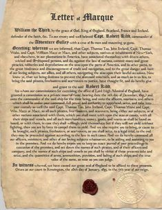 Captain Kidd's letter of Marque 1695