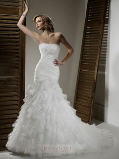 Unique Trumpet / Mermaid Strapless Floor-length Organza White Wedding Dress - $171.99 - Trendget.com