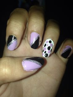 Pink and black with polka dots.