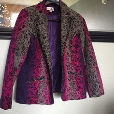 NWT Erin London Blazer Gorgeous jacket that is lined inside. NWT boutique jacket/blazer that is stunning. Pink, purple, gray and black. Even more stunning in person!! Erin London Jackets & Coats Blazers