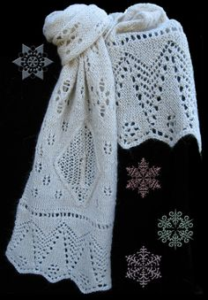 *** This is the knitting pattern for making this scarf--Not the scarf itself. ***   *** If you would like to have a custom-made scarf, please contact me. ***    Knit this delicate, lacy scarf that brings a cold winter night to mind. The motifs include a Christmas tree edging, snowflakes falling, and, on each end, a diamond-shaped window framing a burning candle. When the pattern is knitted with fine mohair/silk laceweight yarn, the halo from the mohair fiber lends a soft coziness to this…