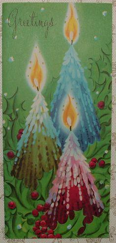 Unused Pink Blue Drippy Candles 50's Vintage Christmas Greeting Card | eBay