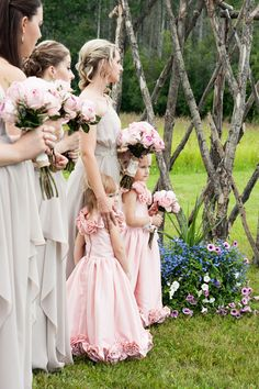 Bridal party & flower girls. Beautiful bridesmaids dresses. Pink flower girl dresses. Soft neutral colors. Soft pink bridal party bouquets. Outdoor wedding ceremony.  http://www.emilyjanephotography.ca http://www.emilyjanephotographyblog.ca