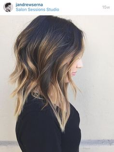 Brunette Balayage for Thick Hair - 50 Cute Long Layered Haircuts with Bangs 2019 - The Trending Hairstyle Medium Layered Haircuts, Long Layered Hair, Long Curly Hair, Curly Hair Styles, Layered Lob, Haircut Medium, Long Bob With Layers, Long Lob Haircut, Fade Haircut
