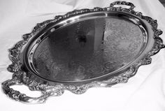 "Antique Towle Silver Plated Ornate 4 Footed 25"" Butler/Serving Platter #4352 #Towle"