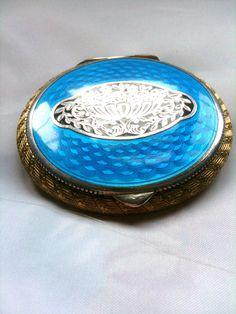 Art Nouveau Compact Blue Enamel Compact 1920s French Silver Vintage Accessories by OurBoudoir on Etsy https://www.etsy.com/listing/214103531/art-nouveau-compact-blue-enamel-compact