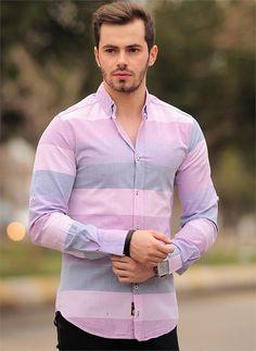 Erkek Gömlek 755-2 Çizgili | Modelleri ve Uygun Fiyat Avantajıyla | Modabenle