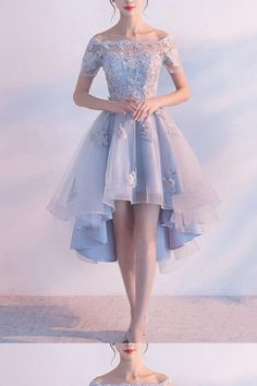 Light Blue Homecoming Dresses, Sexy Homecoming Dresses, Homecoming Dresses Short, Prom Dress Blue, Prom Dress A-Line Light Blue Homecoming Dresses, High Low Prom Dresses, Tulle Prom Dress, Prom Dresses Blue, Prom Party Dresses, Sexy Dresses, Dress Party, Dress Lace, Sleeve Dresses