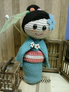 Crochet amigurumi Japanese kokeshi doll