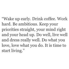 It's time to start living.