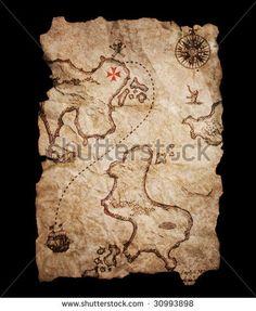 Old treasure map - stock photo