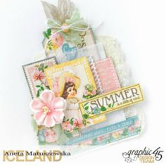 Hello everybody, Summer is here and it's perfect time to make a one sheet summer tag by using June Collective paper page from Ch. Baby Scrapbook, Scrapbook Pages, Scrapbooking, Handmade Notebook, Baby Album, Baby Shower Cards, Planner Inserts, Scrapbook Embellishments, Graphic 45