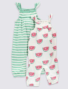 2 Pack Pure Cotton Fruit Rompers