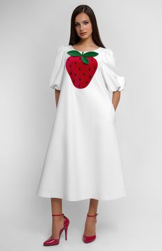 Bell-bottom thick-cotton dress. Designer handmade velvet strawberries decorated with gems. Balloon sleeves. Side seam pockets. Hidden back zip closure. #Pintel  #party #cocktail  #dress #cute #pretty #red #strawberry #velvet #cotton  #midi  #style