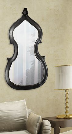 String section inspired mirror for my bass and cello players Unique Mirrors, Cool Mirrors, Mirror Mirror, Music Bedroom, Music Decor, Bedroom Themes, Inspired Homes, Girl Room, Room Decor