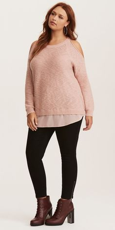 Plus Size Cold Shoulder Sweater - Plus Size Fall Outfit - Plus Size Fashion for Women