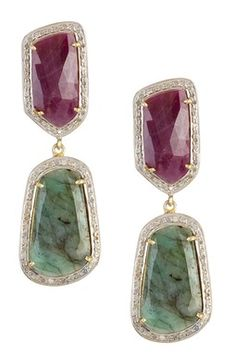Ruby, Emerald & White Diamonds Faceted Double Drop Earrings