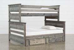 Summit Grey Twin Over Full Bunk Bed With Trundle With Mattress Trundle Mattress, Bunk Bed With Trundle, Bunk Beds With Stairs, Teen Bunk Beds, Full Bunk Beds, Kid Beds, Loft Beds, Loft Spaces, Living Spaces