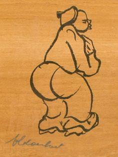 Frans Claerhout (SA 1919 - Ink on Wood, Figure 5th Avenue, Naive Art, Afrikaans, Studio, Wood, Ink, Woodwind Instrument, Timber Wood, Studios