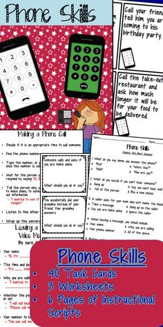Phone Skills Fun! Problem solving/role-playing task cards, worksheets and instructional scripts for teaching essential life skills! $